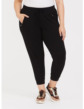 Premium Ponte Zip Pocket Jogger   Black by Torrid