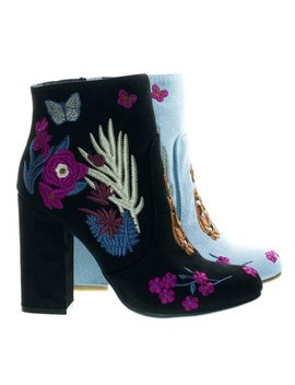 Namaste11 By Bamboo, Floral Embroidery Block Heel Ankle Bootie W Faux Fur Lining by Bamboo