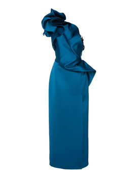One Shoulder Draped Satin Dress by Marchesa