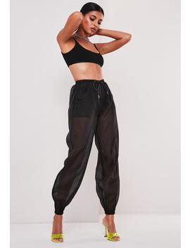 Sofia Richie X Missguided Black Organza Drawstring Joggers by Missguided