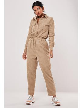 Stone Cord Utility Dungaree Jumpsuit by Missguided