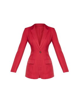 Burgundy Structured Suit Woven Blazer    by Prettylittlething
