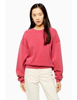 Pink Stone Wash Sweatshirt by Topshop