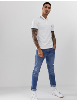 Original Penguin Slim Fit Tipped Pique Polo In White by Original Penguin