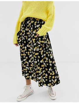Asos Design Button Front Midi Skirt With Pockets In Yellow Floral by Asos Design