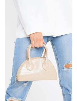 Nude Croc With Silver Chain Bag by In The Style