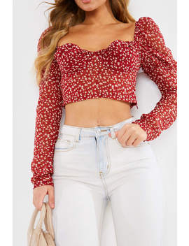 Red Ditsy Floral Sheer Puff Sleeve Crop Top by In The Style