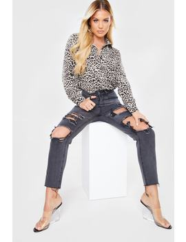 Washed Black Extreme Distressed Mom Jeans by In The Style