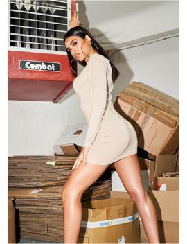 Lexi Beige Long Sleeve Basic Jersey Mini Dress by Missy Empire