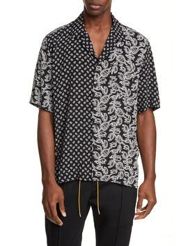 Bandana Panel Short Sleeve Button Up Camp Shirt by Rhude
