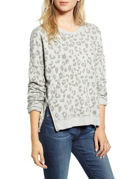 Marlo Leopard Print Side Zip Sweatshirt by Rails