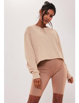 Sand Button Front Sweatshirt by Missguided