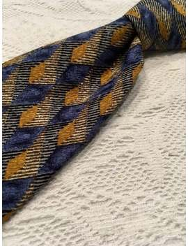 Ermenegildo Zegna Necktie Of 100% Soft Textured Silk, Made In Italy, This Zegna Features Deep Golds, Greys And A Wide Range Of Blues by Etsy