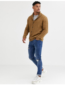 Asos Design Cable Knit Cardigan In Tan by Asos Design