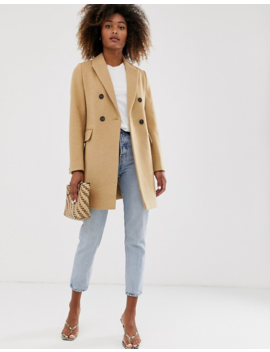 Stradivarius Double Breasted Tailored Coat In Camel by Stradivarius'