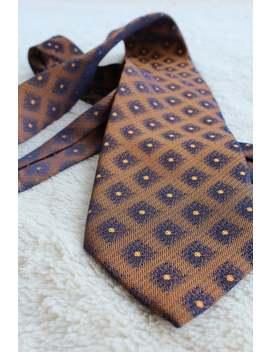 Ermenegildo Zegna Tie 100% Silk Gold/Bronze And Blue Geometrical Pattern Designer Necktie Made In Italy by Etsy