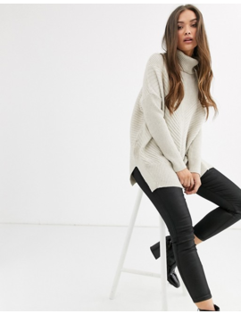 River Island Roll Neck Jumper In Beige by River Island