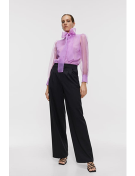Organza Blouse With Bow Detail New Inwoman by Zara