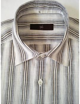 Vintage Zegna Shirt With Black And Gold Stripes In A Linen Cotton Mix by Etsy