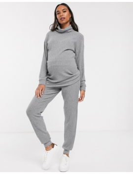 New Look Maternity Roll Neck Tunic Co Ord In Grey by New Look