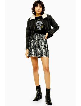 Idol Black And White Print High Waist Skirt by Topshop