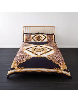 Black Leopard Baroque Double Duvet Bed Set by River Island