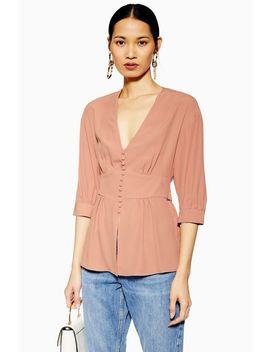 Pink Plunge Button Down Blouse by Topshop