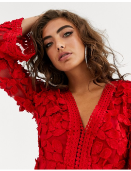 Love Triangle Floral Embroidered Long Sleeve Dress In Red by Love Triangle's
