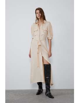 Satin Shirt Dress Midi Dresses Woman by Zara