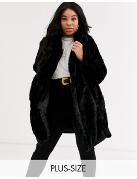New Look Curve Fur Coat In Black by New Look