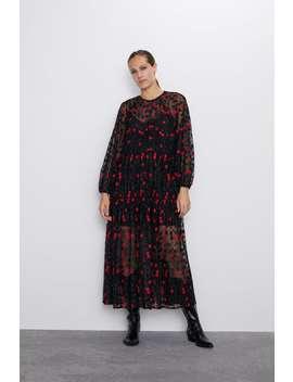 Vestido Oversize Com Bordado De Flores Ver Tudo Vestidos Mulher by Zara