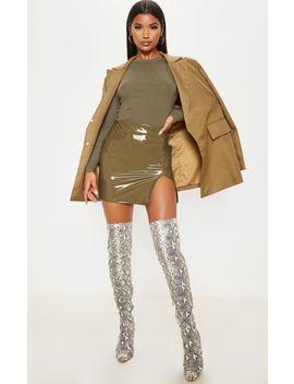 Olive Khaki Vinyl Extreme Side Split Mini Skirt by Prettylittlething