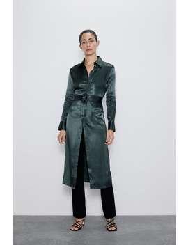 Vestido Midi Acetinado Ver Tudo Vestidos Mulher by Zara