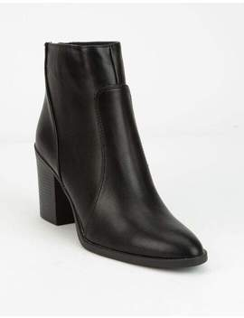 Qupid Block Heel Black Womens Booties by Qupid