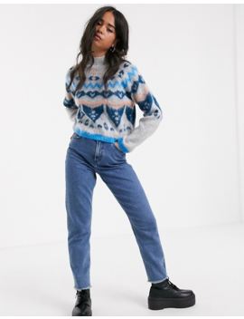 Noisy May Fairsile Print Roll Neck Knitted Jumper by Noisy May