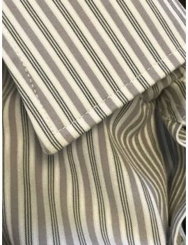 Linea In Mens Dress Shirt White Stripe Slim Fit 15.5 35 Made In Italy Gray Taupe by Linea In