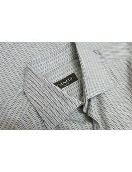 Canali Gray Brown Striped Woven Dress Shirt 39 15 1/2 by Canali