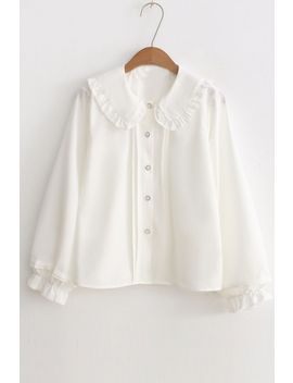 Chic Peter Pan Collar Long Sleeve Buttons Down Simple Plain Shirt by Beautiful Halo