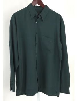 Bugatchi Uomo Mens Medium Forest Green Long Sleeve Button Front Shirt U 78 by Bugatchi Uomo