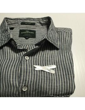 Rodd & Gunn Italian Linen 'tweed Street' Shirt Ink Stripe Sports Fit (Slim) M by Rodd & Gunn