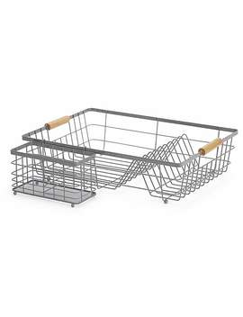 Grey And Bamboo Dish Drainer by Dunelm