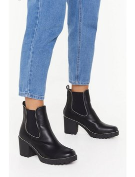 Block The Haters Faux Leather Studded Boots by Nasty Gal