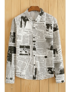 Newspaper Printed Lapel Collar Long Sleeve Buttons Down Shirt by Beautiful Halo