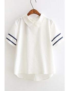 New Fashion Chic Lapel Contrast Ribbed Short Sleeve Blouse by Beautiful Halo