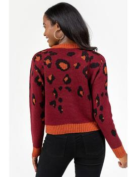 Micah Cascading Animal Print Sweater by Francesca's