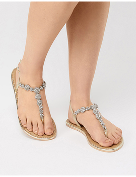 Caitlin Crystal Flower Sandals by Accessorize