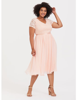 Peach Pink Sequin & Lace Midi Dress by Torrid
