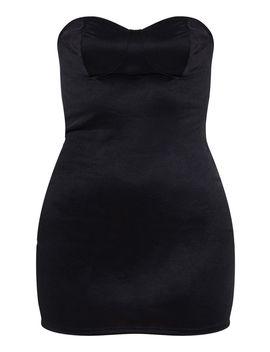 Black Shimmer Slinky Bandeau Bodycon Dress by Prettylittlething