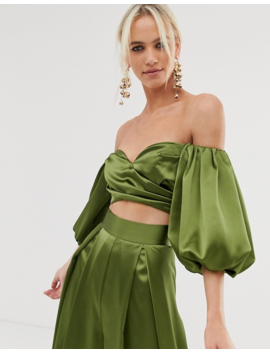 Asos Edition Off Shoulder Crop Top & Wide Leg Trouser Co Ord by Asos
