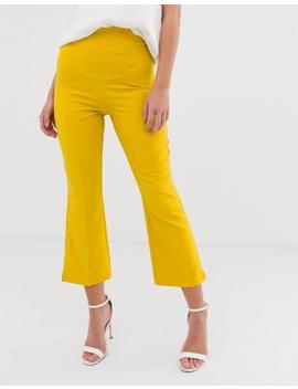 Miss Selfridge Crop Tailored Trousers In Yellow by Miss Selfridge